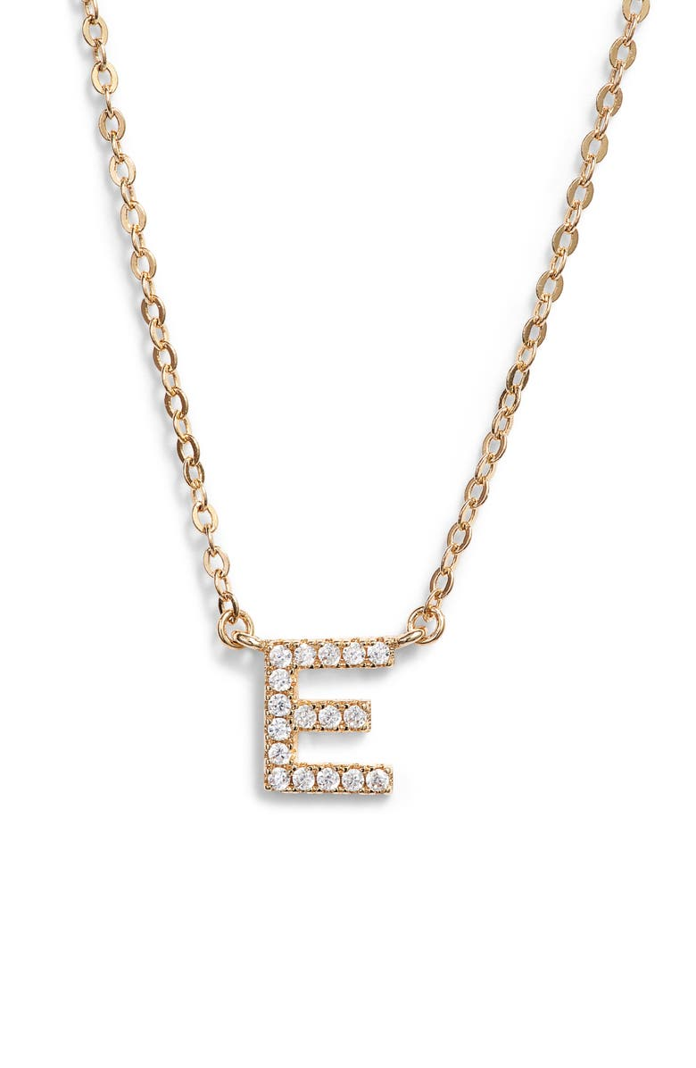 NORDSTROM Delicate Cubic Zirconia Initial Pendant Necklace, Main, color, E- CLEAR- GOLD