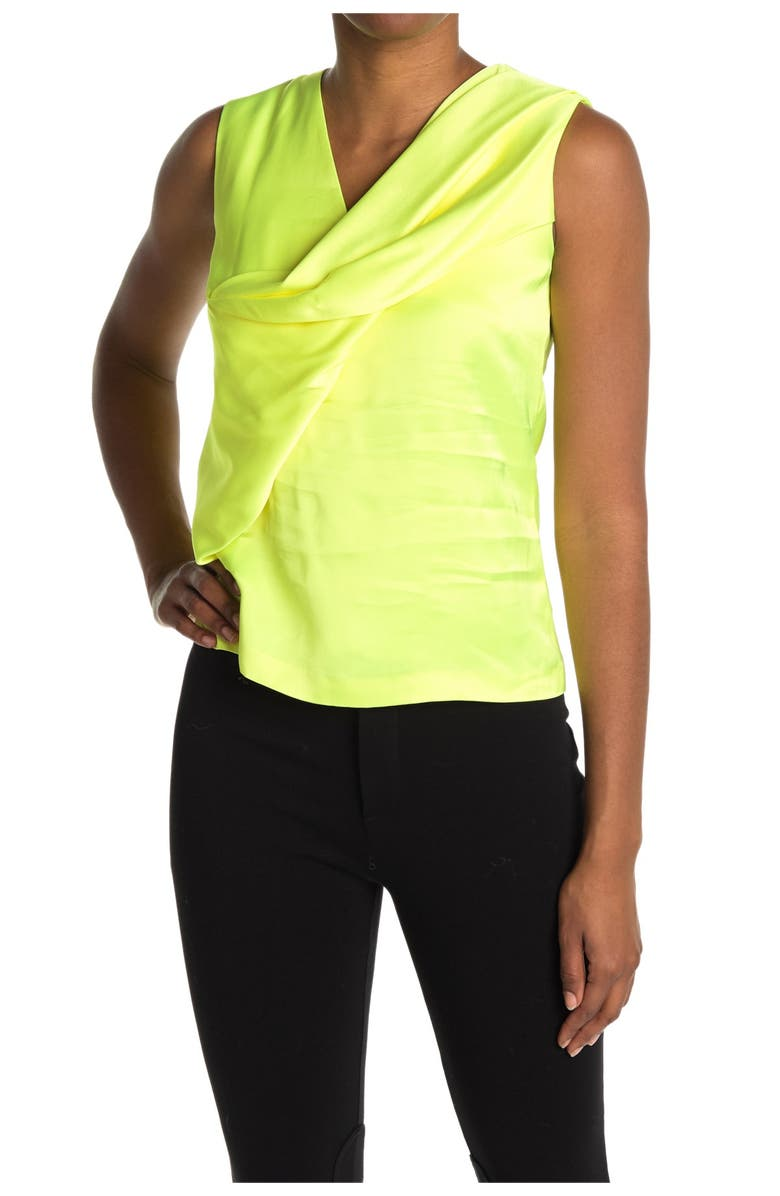 HELMUT LANG Satin Knot Twist Top, Main, color, NEON YELLOW