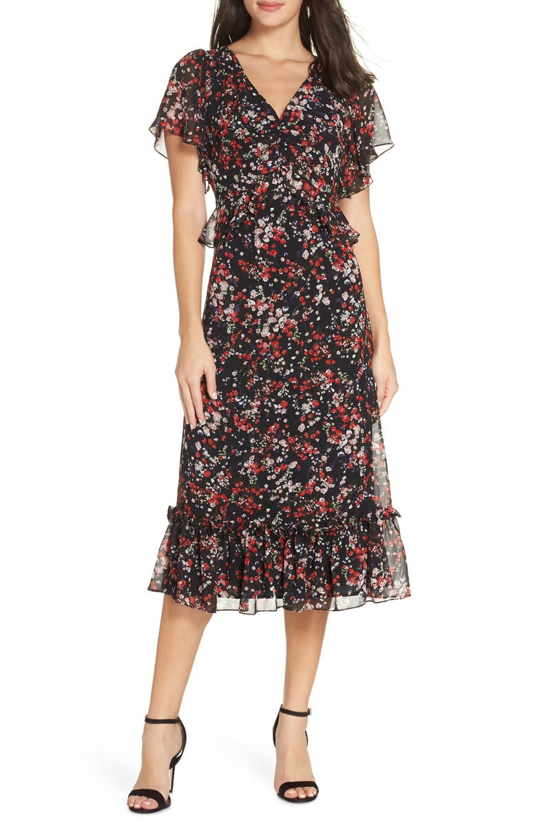 CHELSEA28 Floral Ruffle Midi Dress, Main, color, BLACK- RED SPRING BLOSSOMS