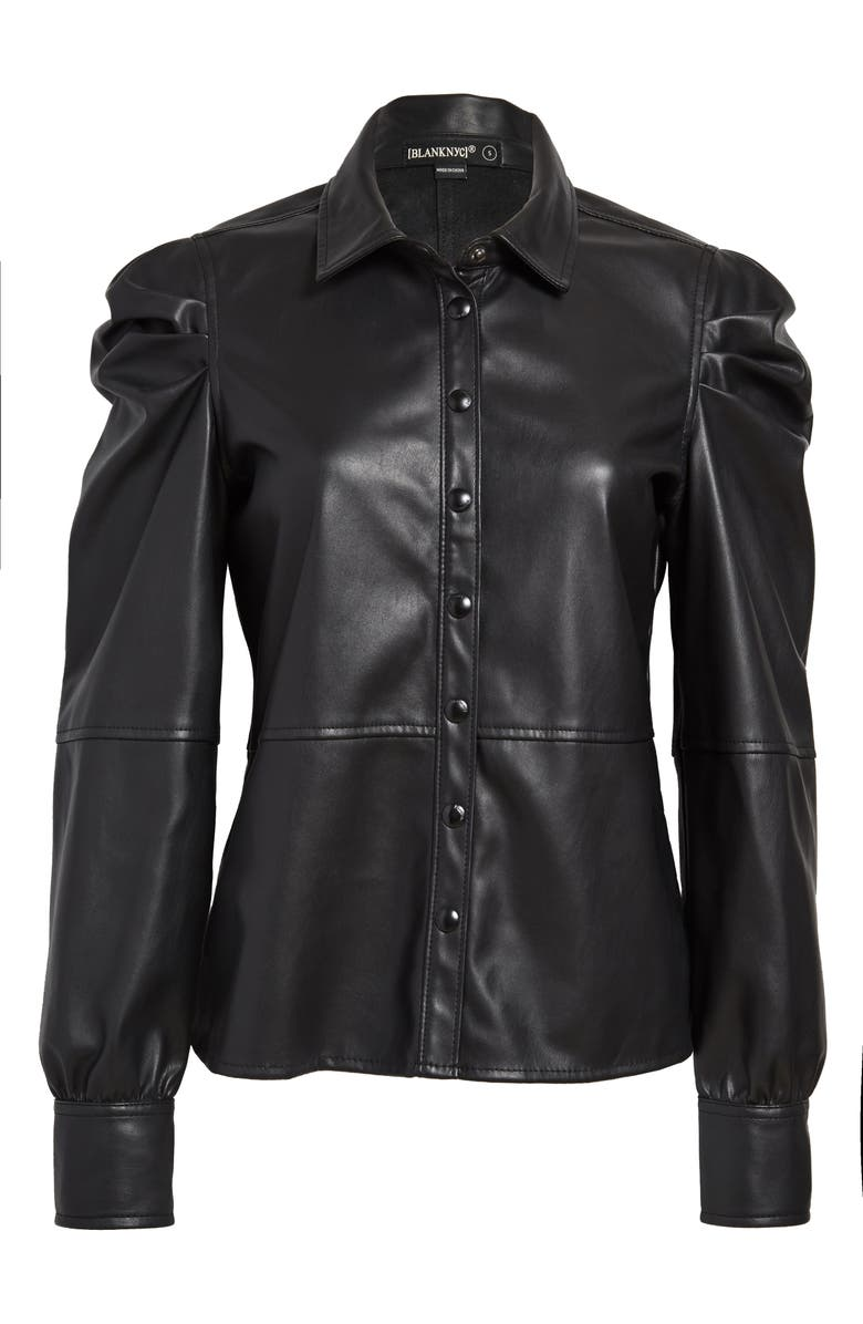BLANKNYC Faux Leather Puff Sleeve Shirt, Main, color, 001