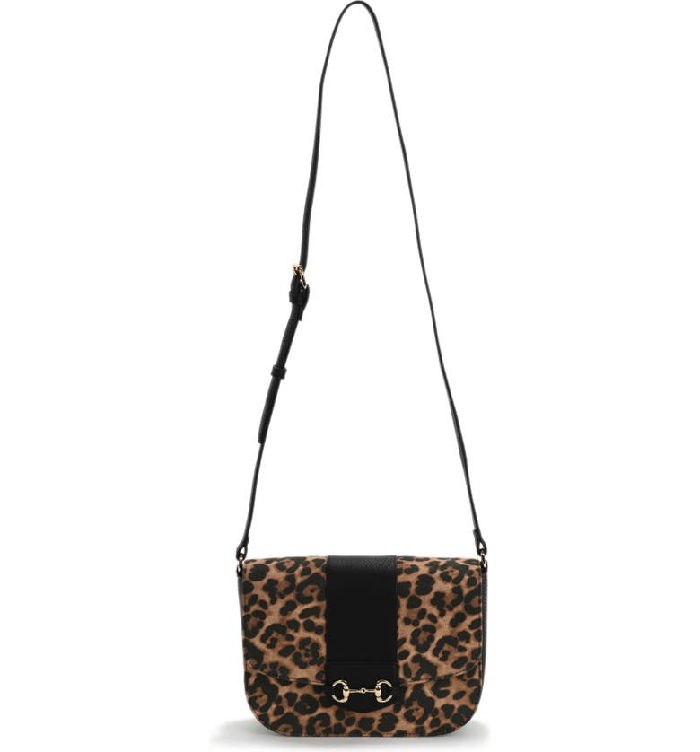 SOLE SOCIETY Nairi Faux Leather Crossbody Bag, Main, color, SOLE LEOPARD