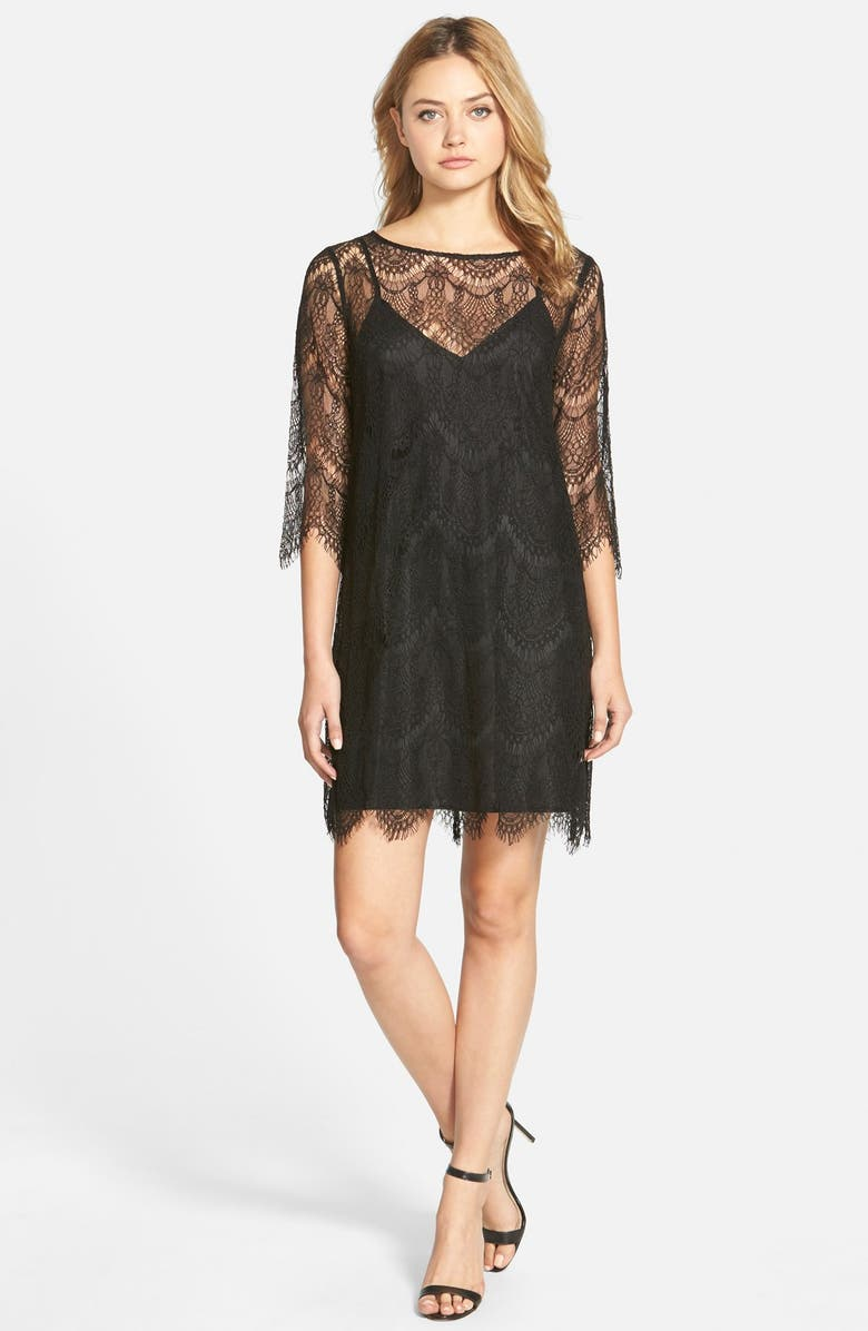 CUPCAKES AND CASHMERE 'Marin' Lace Overlay Shift Dress, Main, color, 001