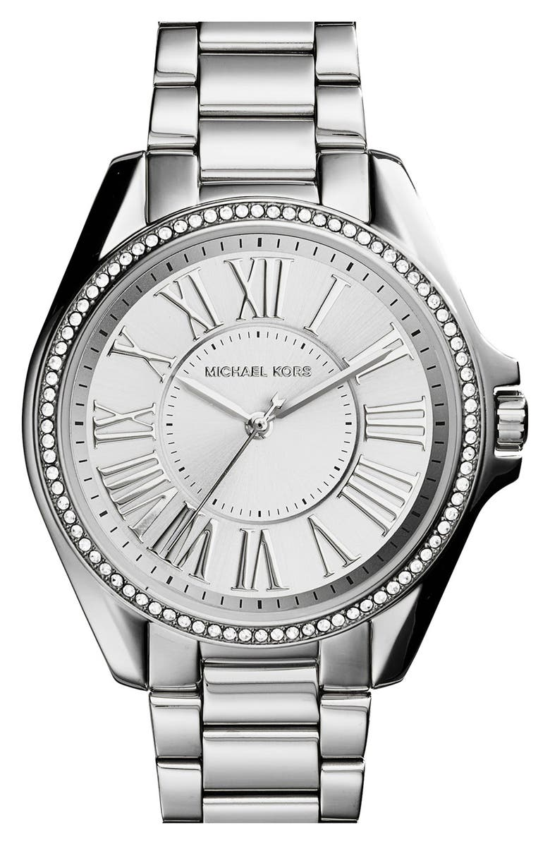 MICHAEL MICHAEL KORS Michael Kors 'Kacie' Crystal Bezel Bracelet Watch, 39mm, Main, color, 040