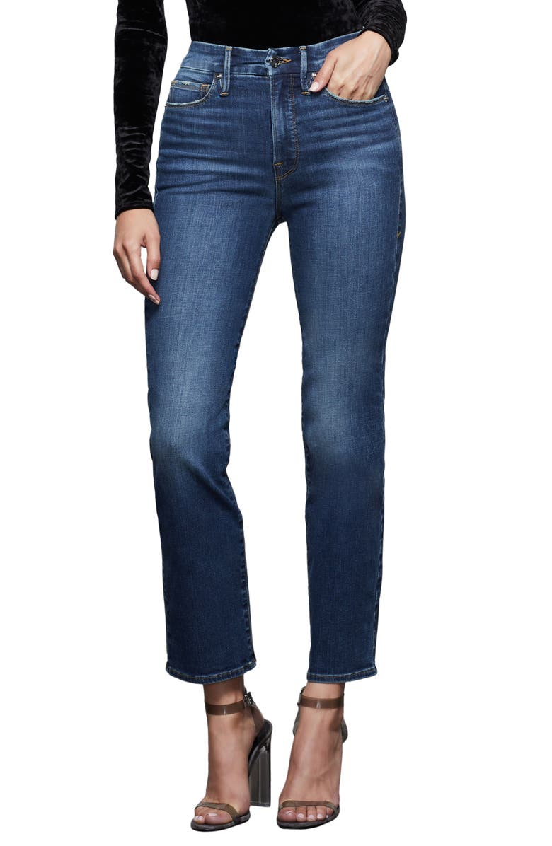 GOOD AMERICAN Good Straight Jeans, Main, color, BLUE