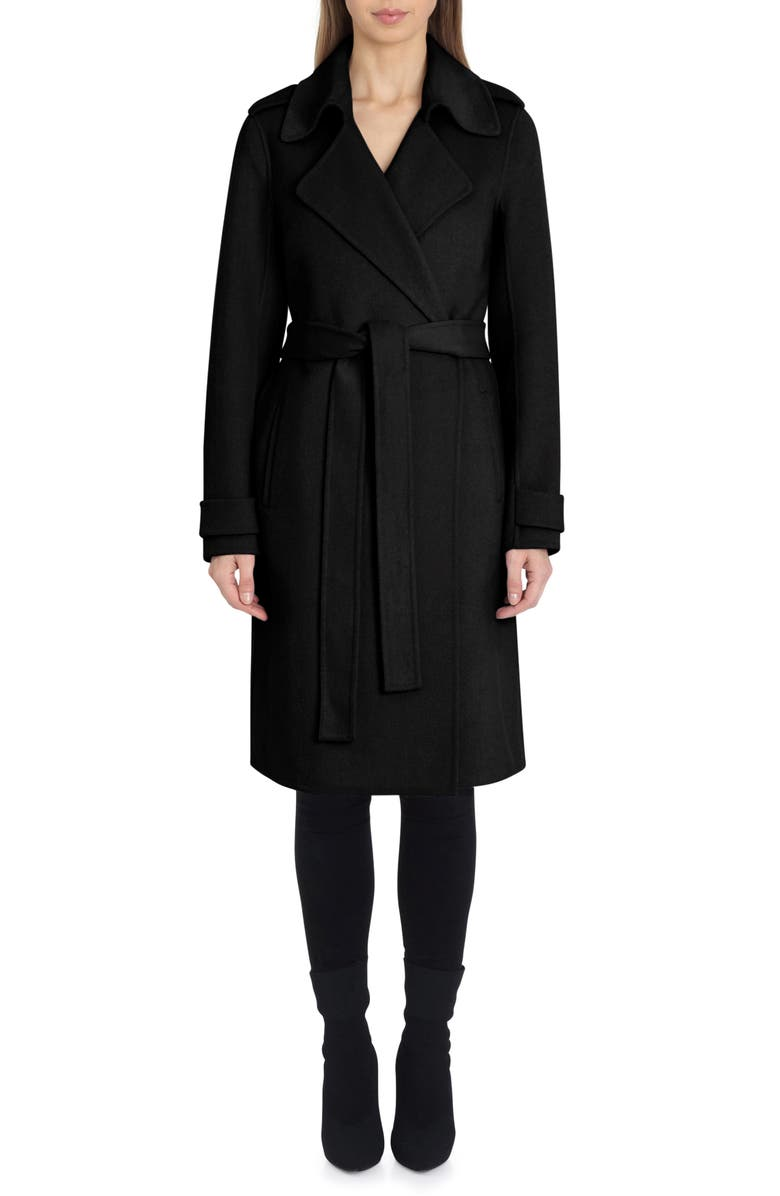 BADGLEY MISCHKA COLLECTION Badgley Mischka Double Face Wool Blend Wrap Front Coat, Main, color, Black