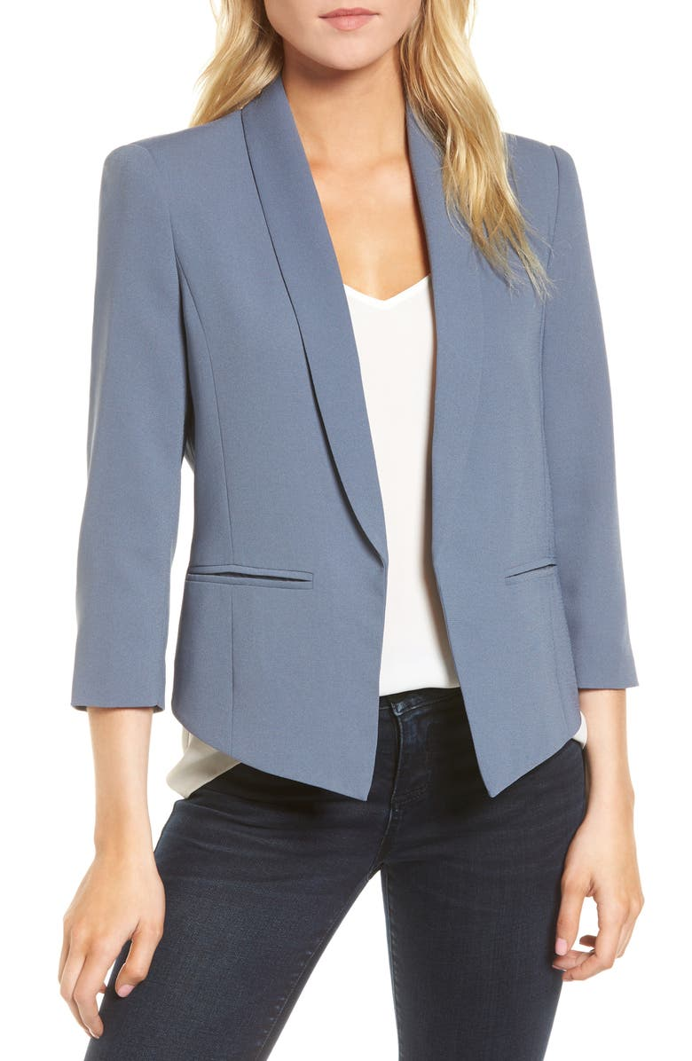 MURAL 'Curve' Open Front Shawl Collar Blazer, Main, color, 401