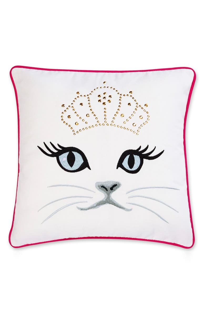 BETSEY JOHNSON BEDDING Polished Punk Cat Pillow, Main, color, 100