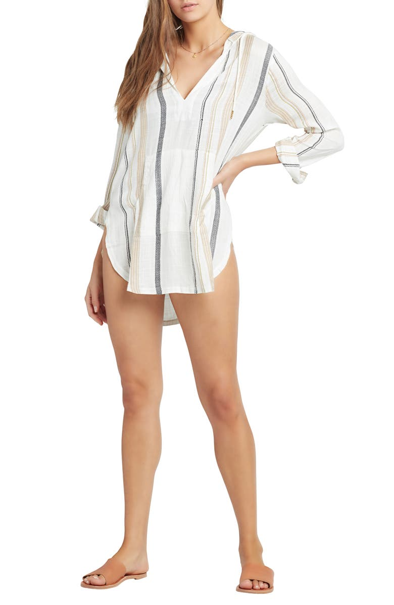 L SPACE Caswell Cover-Up Hooded Tunic, Main, color, EL CAMINO STRIPE