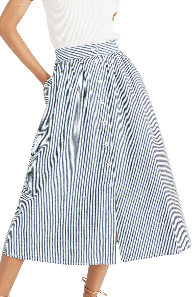MADEWELL Palisade Chambray Stripe Button Front Midi Skirt, Main, color, 400