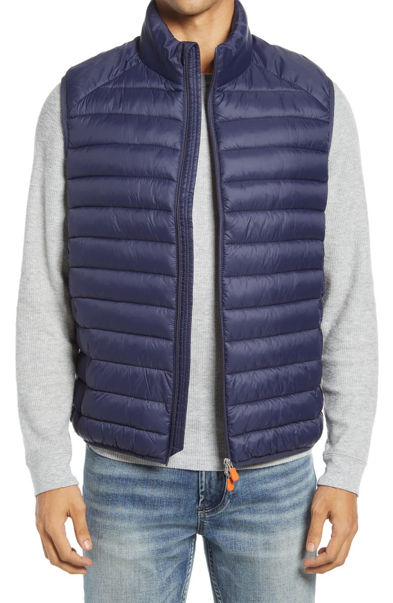 SAVE THE DUCK Water & Wind Resistant Puffer Vest, Main, color, NAVY