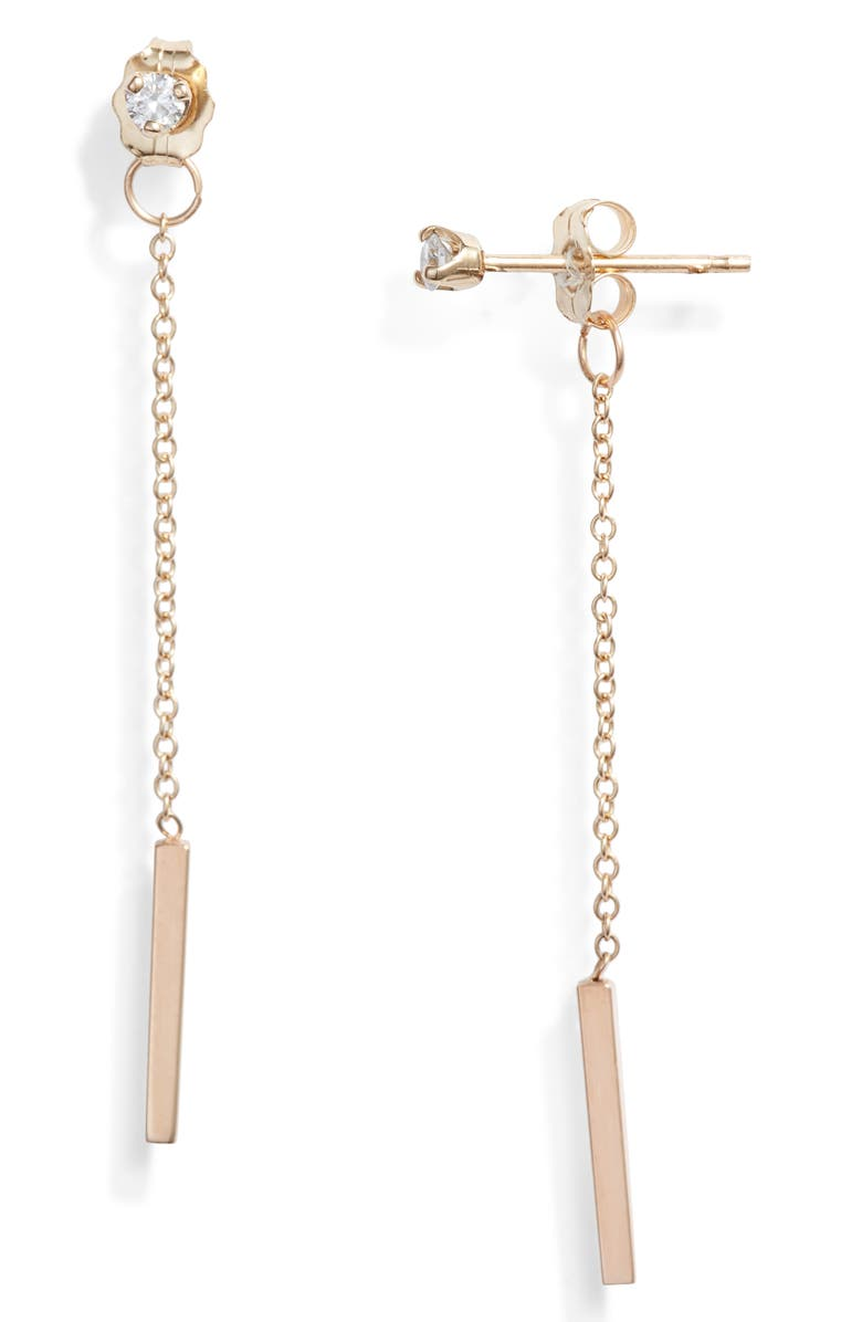 ZOË CHICCO Diamond Chain Drop Earrings, Main, color, 710