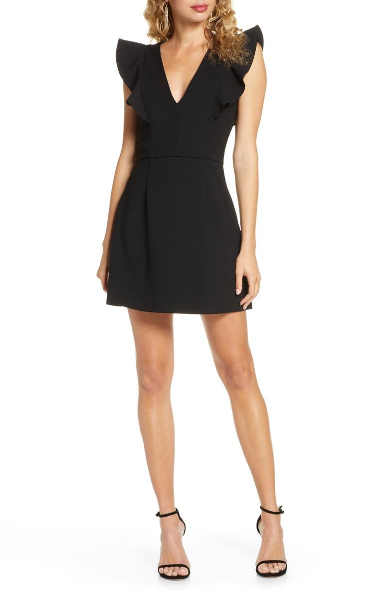 FRENCH CONNECTION Whisper Ruffle Minidress, Main, color, BLACK