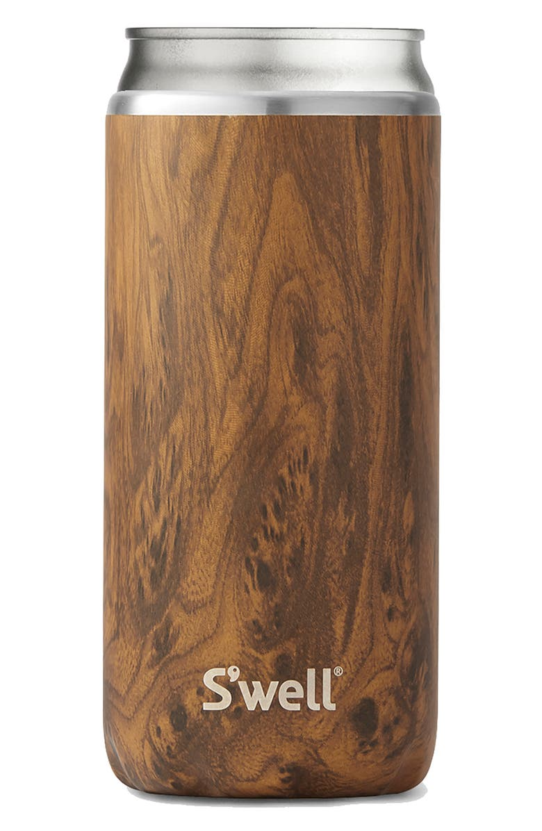 S'WELL 16-Ounce Stainless Steel Drink Chiller, Main, color, TEAKWOOD