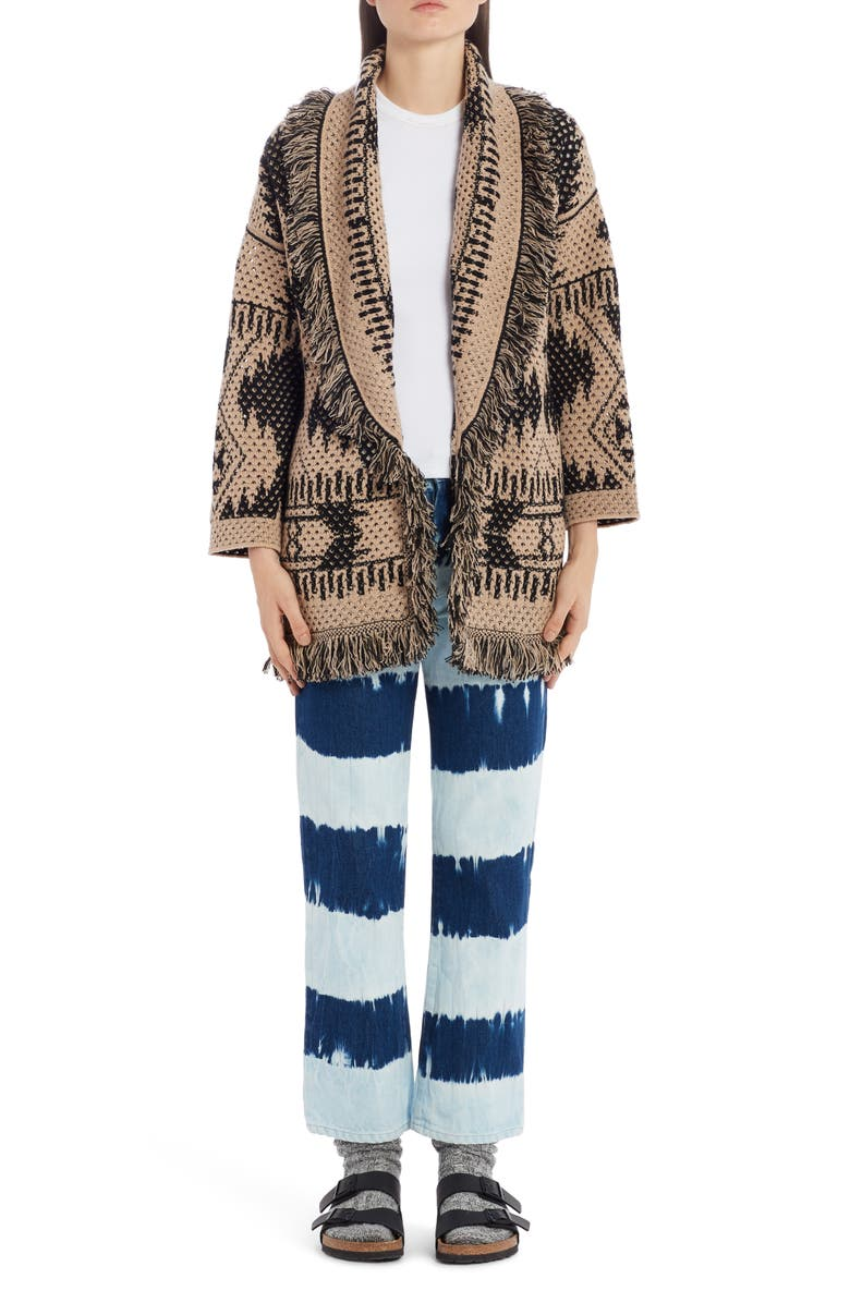 ALANUI Icon Cashmere, Wool & Silk Pointelle Cardigan, Main, color, 001