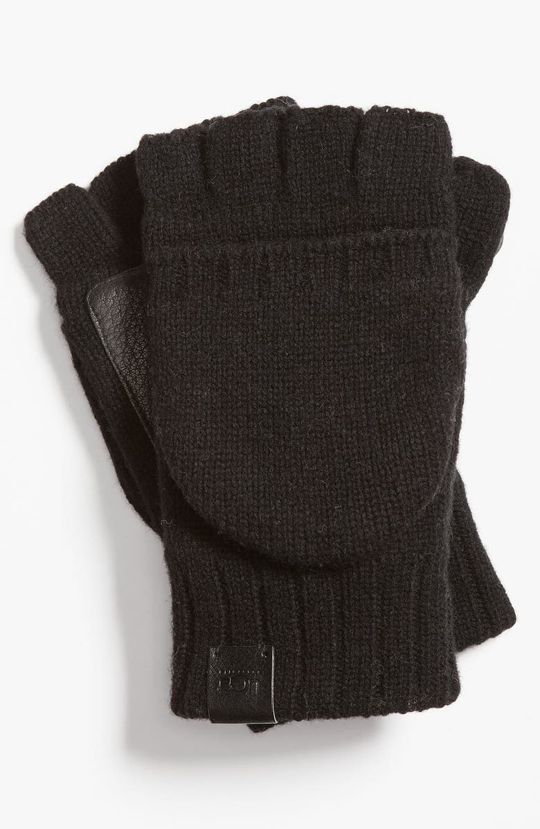 UGG<SUP>®</SUP> Australia Knit Convertible Fingerless Gloves, Main, color, 001