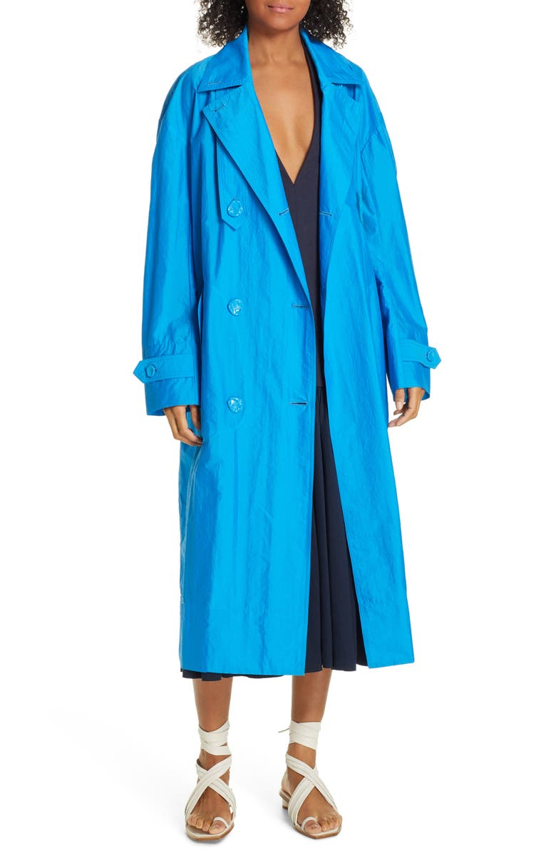TIBI Double Breasted Trench Coat, Main, color, 400