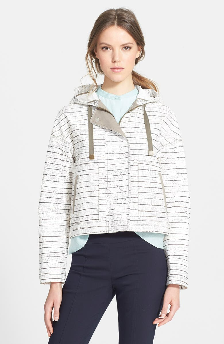 TORY BURCH Piece & Co. and Tory Burch 'Nadia' Print Hooded Crop Jacket, Main, color, OLIVE/ WHITE