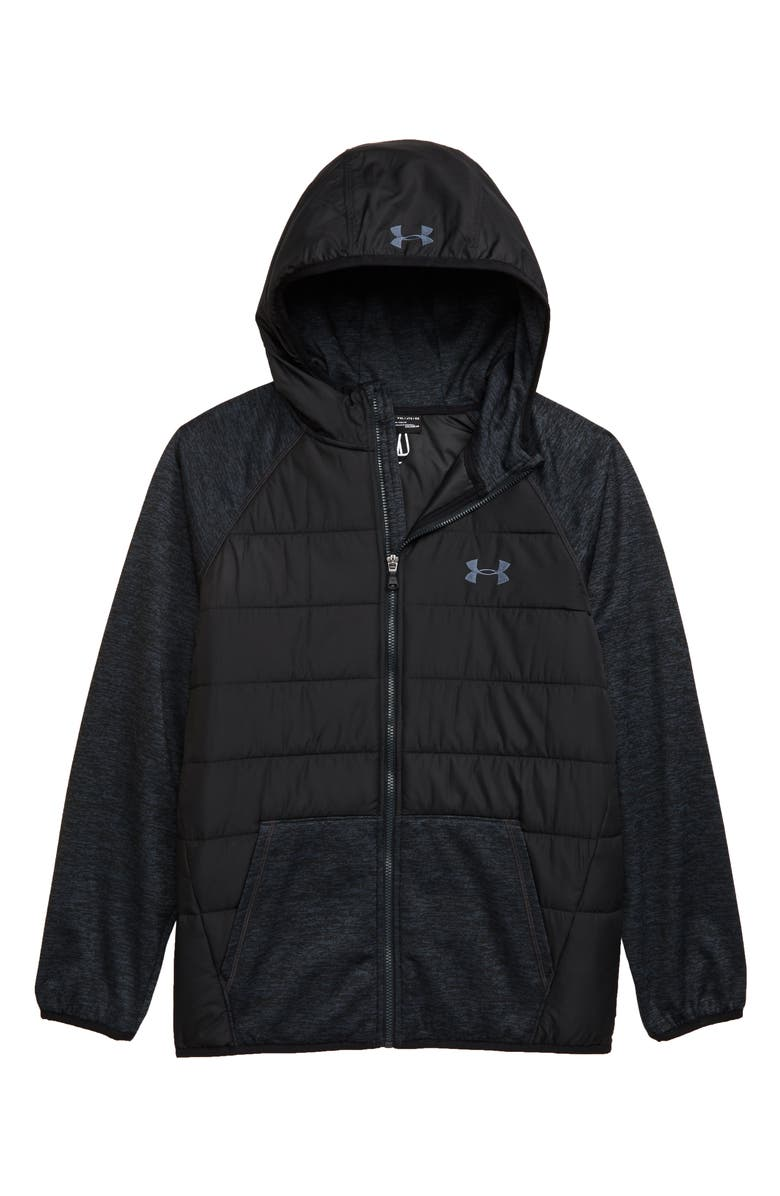 UNDER ARMOUR Day Trekker Water Resistant ColdGear<sup>®</sup> Hooded Puffer Jacket, Main, color, 001