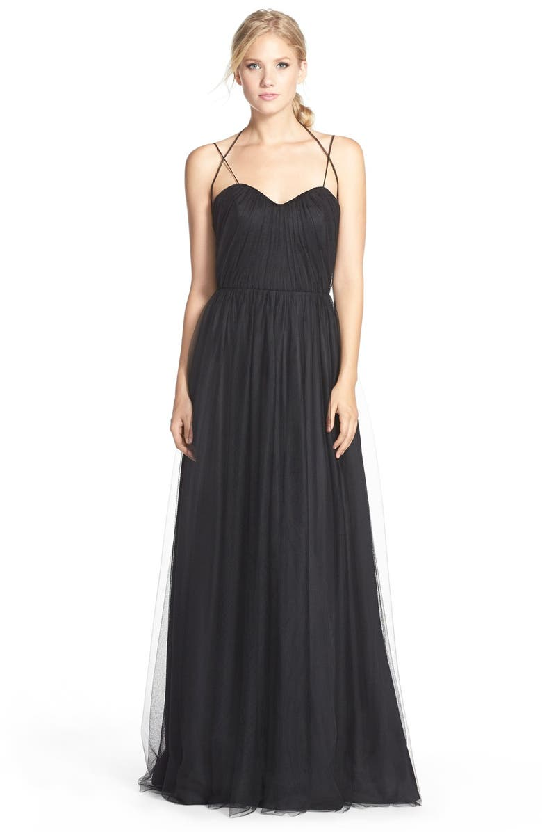 JIM HJELM OCCASIONS Dropped Back Pleat English Net A-Line Gown, Main, color, 005