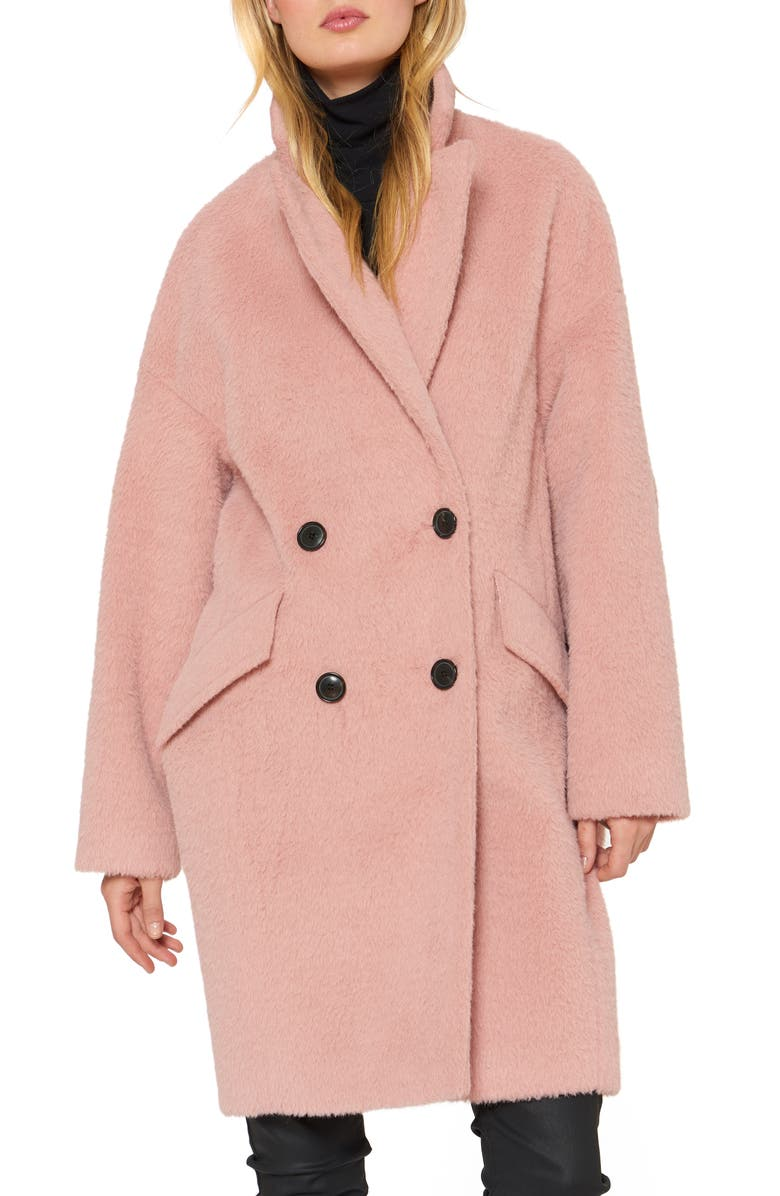 SANCTUARY Double Breasted Coat, Main, color, DUSTY PINK