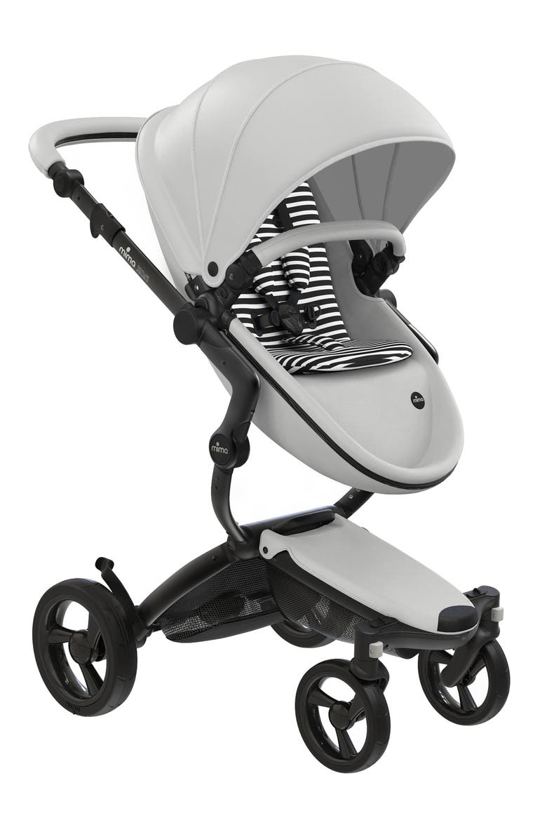 MIMA Xari 2020 Black Chassis Stroller with Reversible Reclining Seat & Carrycot, Main, color, SNOW WHITE/ BLACK & WHITE