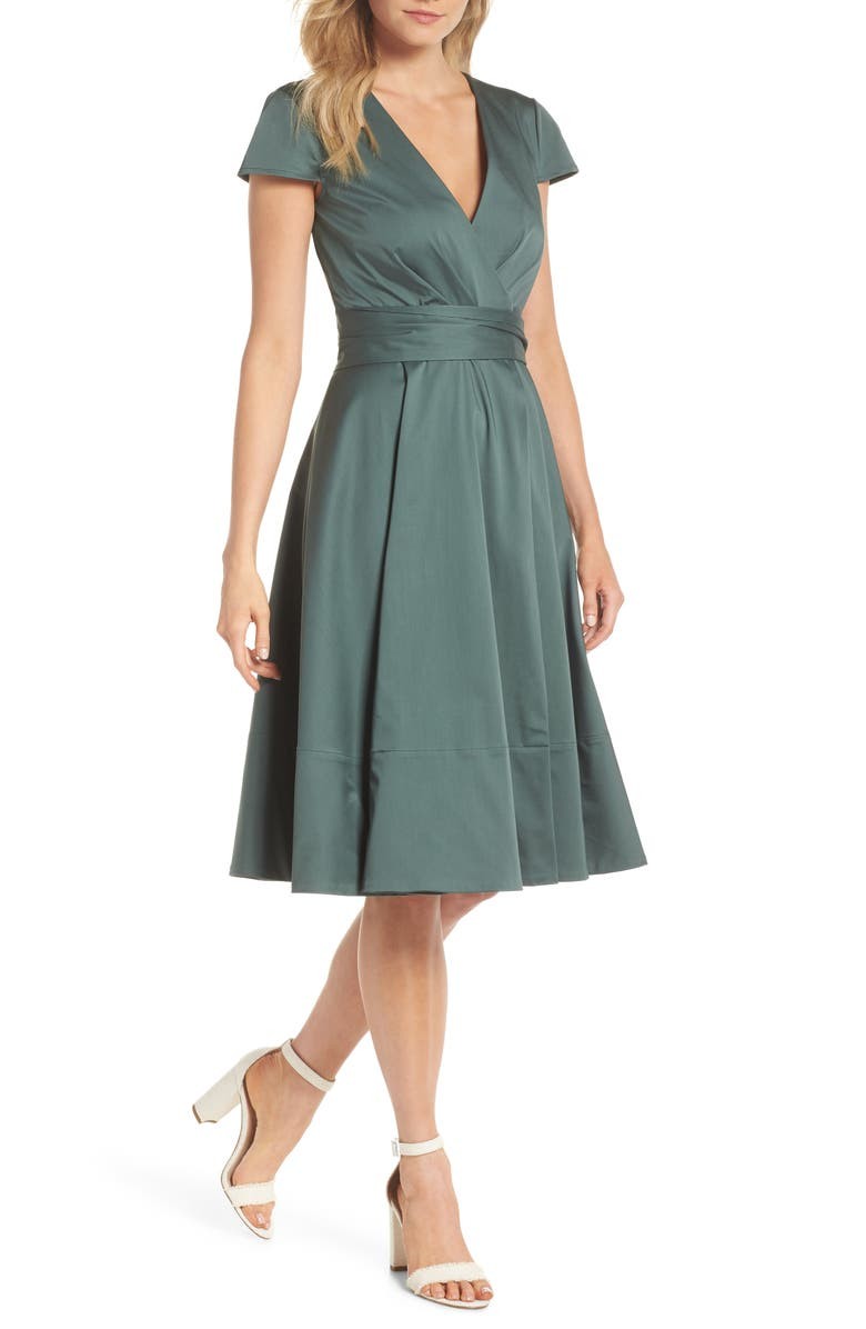 GAL MEETS GLAM COLLECTION Addison Cotton Tie Waist Fit & Flare Wrap Dress, Main, color, OLIVE