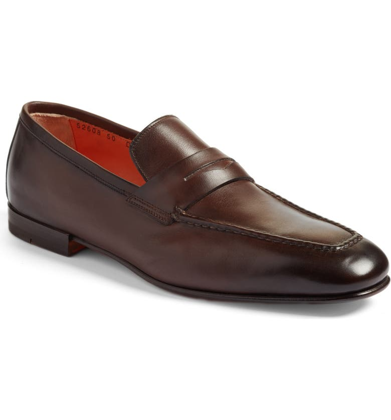 SANTONI Fox Packable Penny Loafer, Main, color, DARK BROWN LEATHER