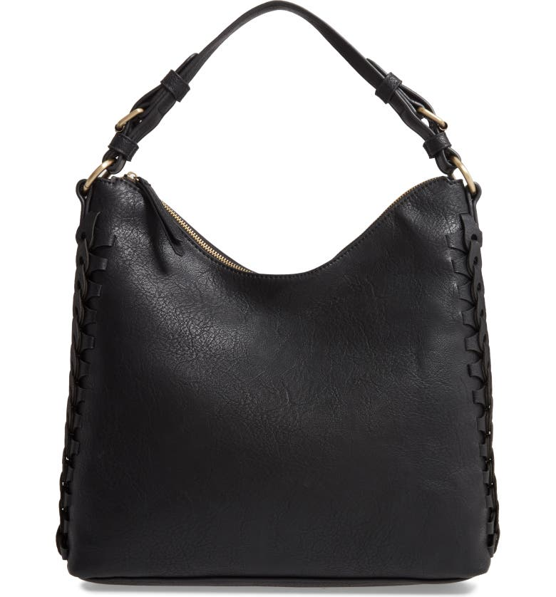 SONDRA ROBERTS Faux Leather Hobo, Main, color, 001