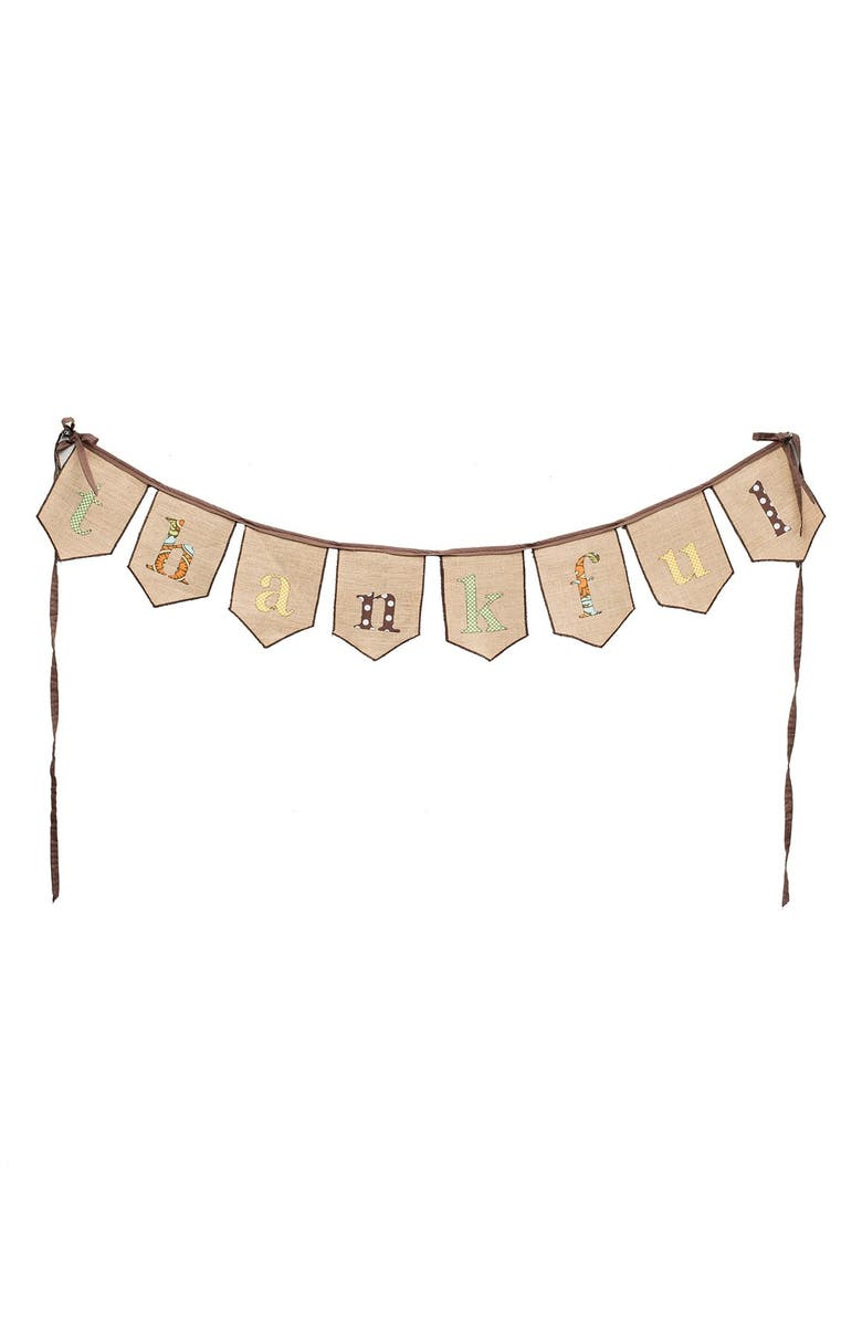 GLORY HAUS 'Thankful' Burlap Banner, Main, color, 240