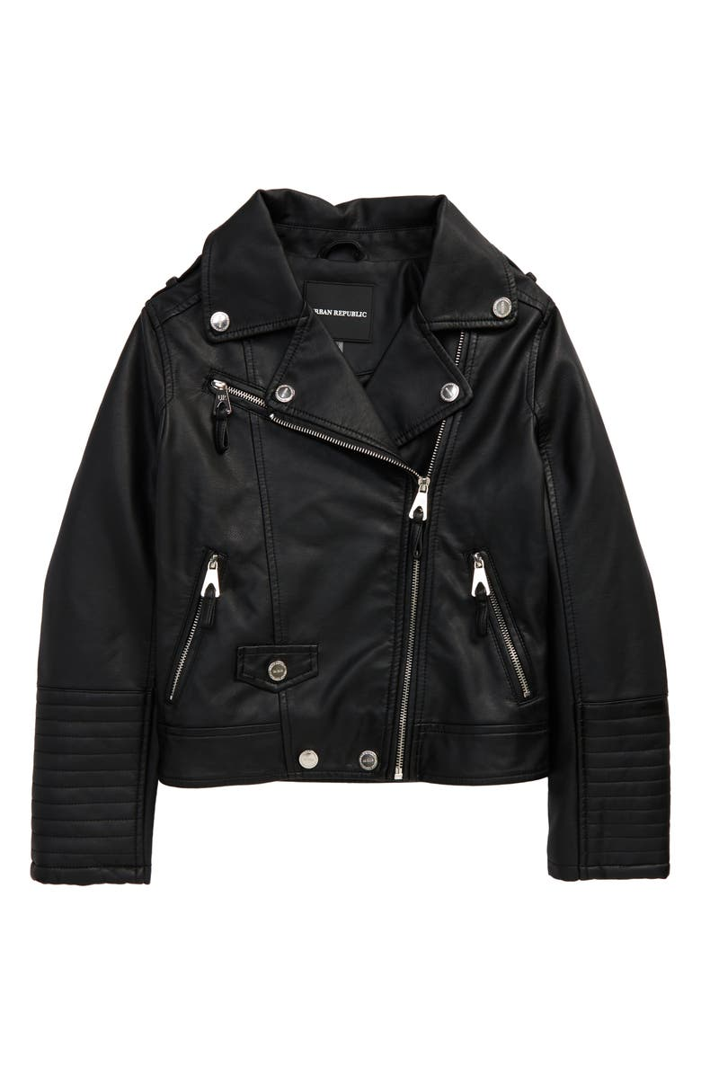 URBAN REPUBLIC Kids' Quilted Faux Leather Moto Jacket, Main, color, BLACK