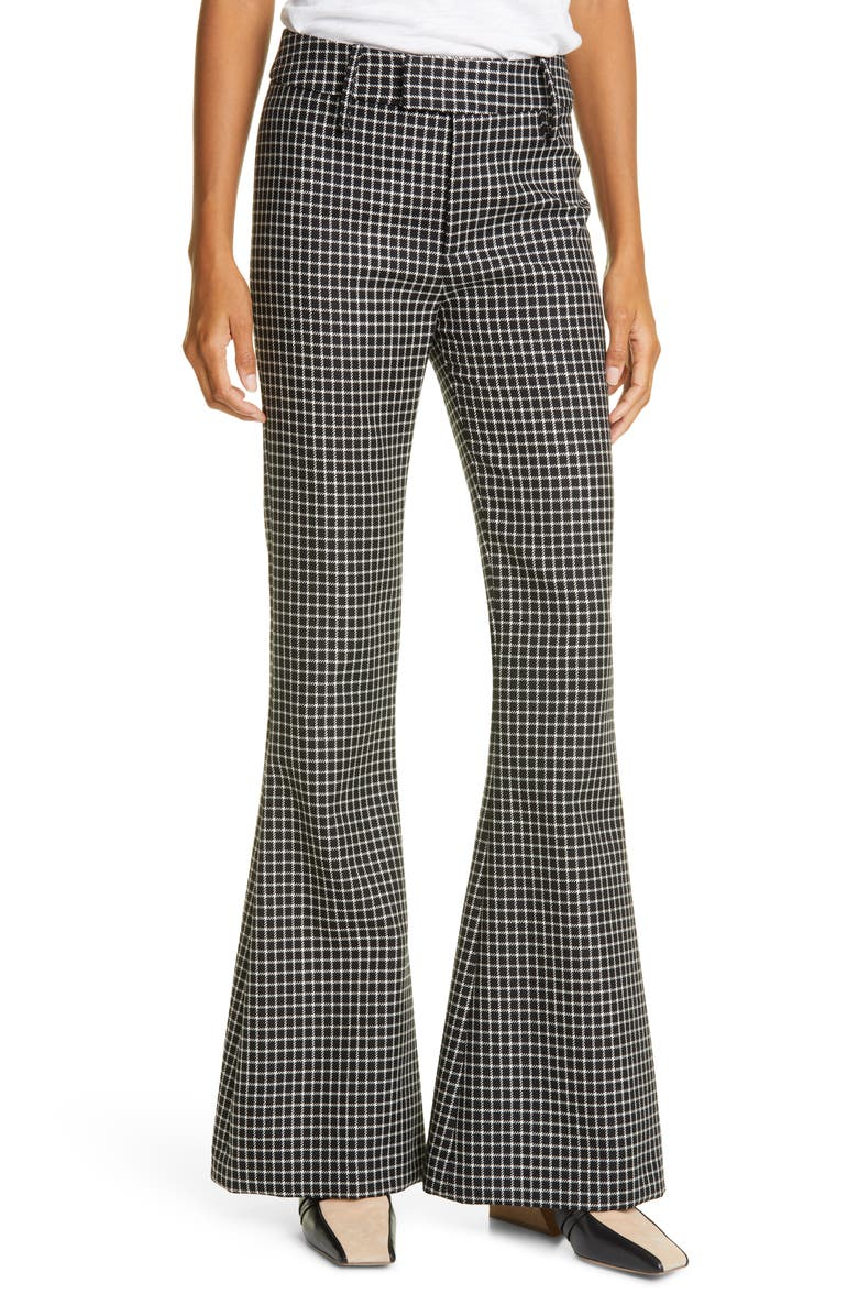 SMYTHE Check Bootcut Wool Trousers, Main, color, BLACK GRID