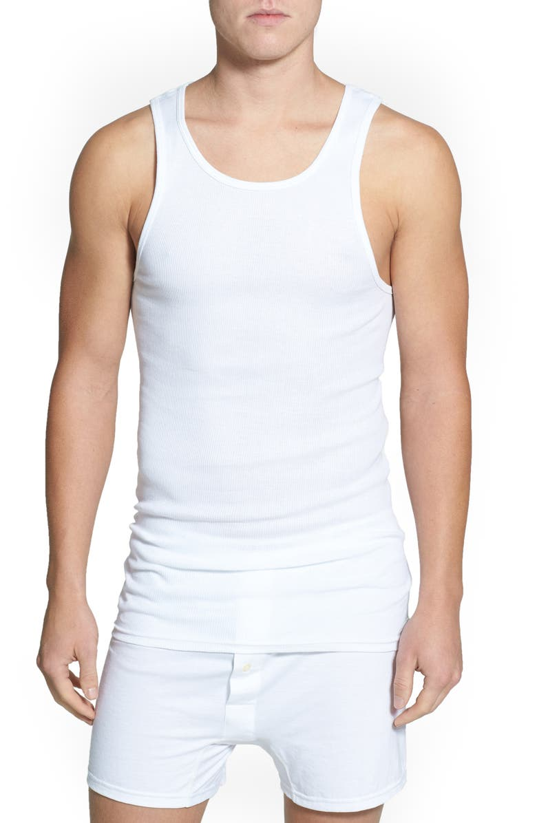NORDSTROM 4-Pack Supima<sup>®</sup> Cotton Athletic Tanks, Main, color, WHITE