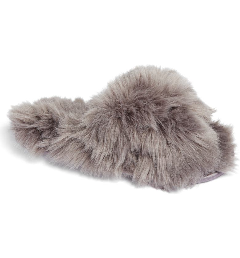 RACHEL PARCELL Faux Fur Slipper, Main, color, GREY CHARCOAL