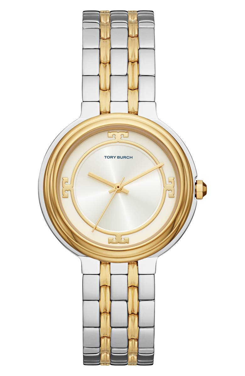 TORY BURCH The Bailey Two-Tone Bracelet Watch, 34mm, Main, color, 2T GOLD
