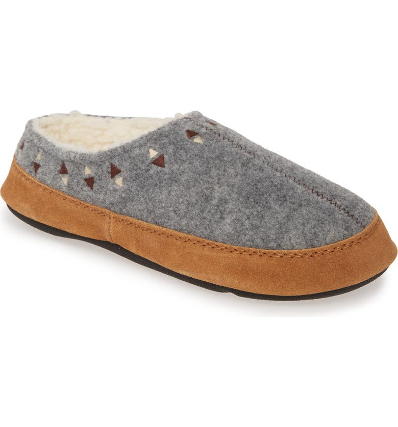 ACORN Geo Embroidered Hoodback Slipper, Main, color, ASH WOOL
