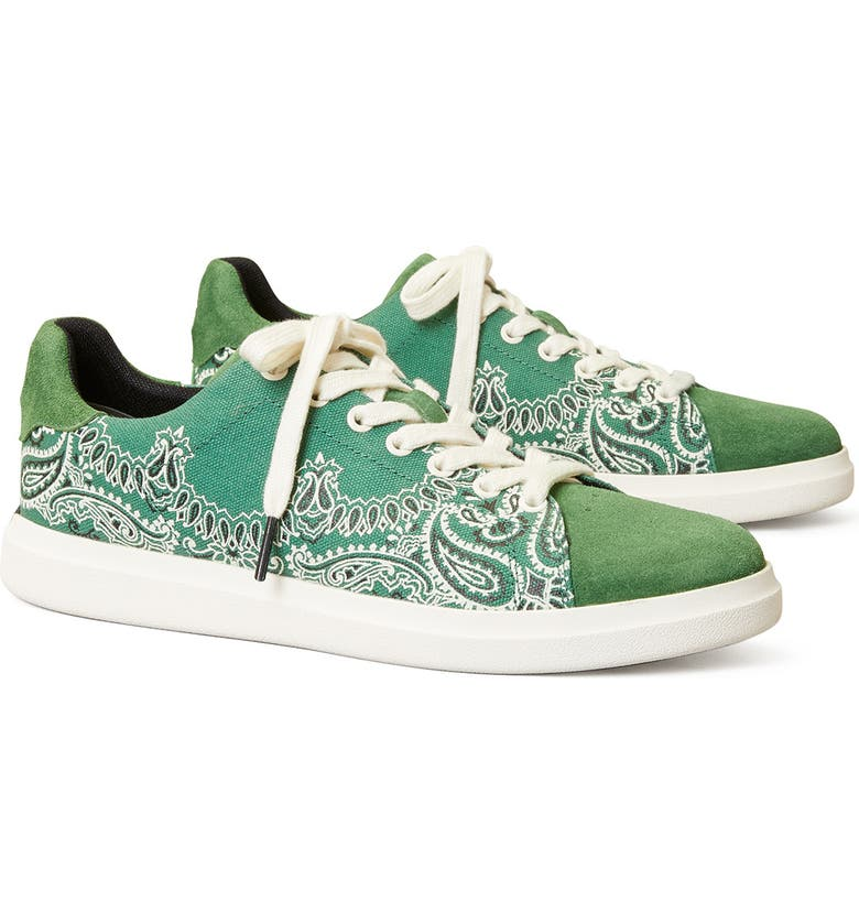 TORY BURCH Howell Chevron Sneaker, Main, color, GREEN AMERICANA BANDANA