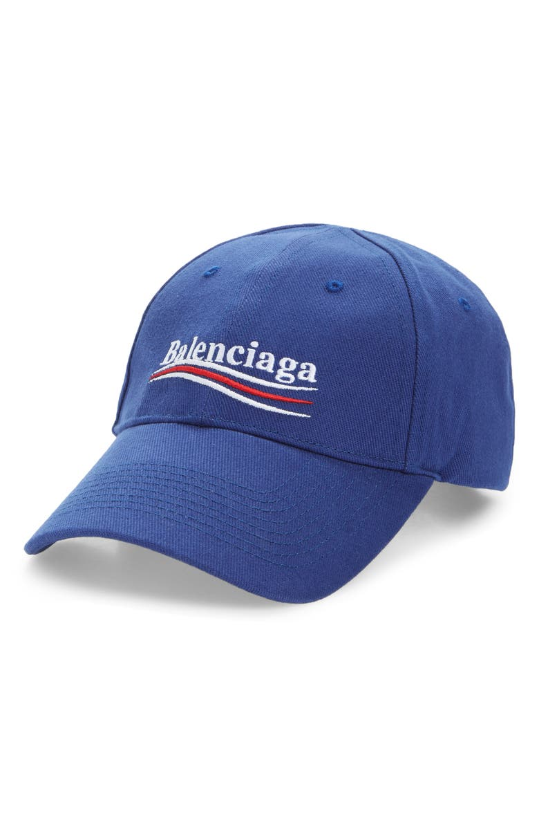 BALENCIAGA Political Embroidered Logo Baseball Cap, Main, color, 400
