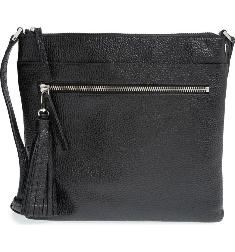 HALOGEN<SUP>®</SUP> Tasseled Leather Crossbody Bag, Main, color, 001