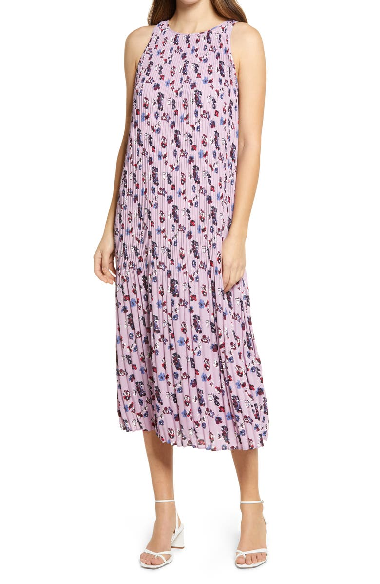 HALOGEN<SUP>®</SUP> Sleeveless Pleated Dress, Main, color, PURPLE HEATHER DAROTA FLORAL