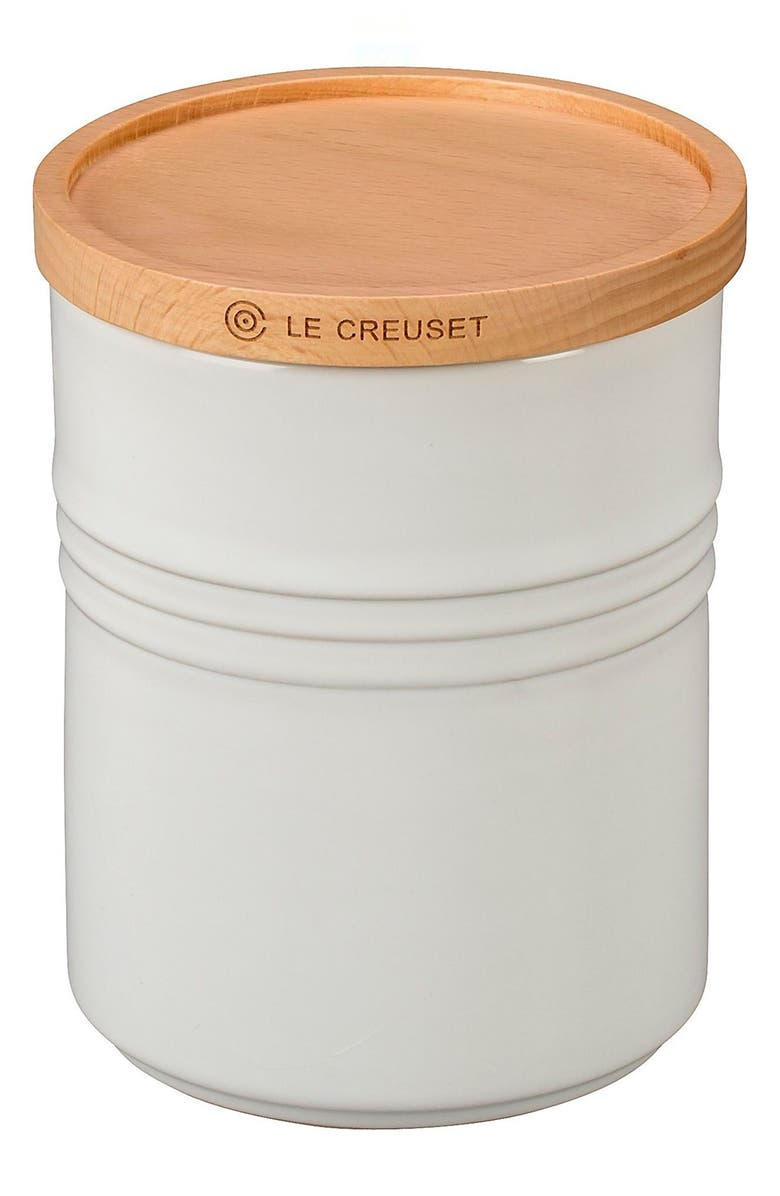 LE CREUSET Glazed Stoneware 2 1/2 Quart Storage Canister with Wooden Lid, Main, color, WHITE