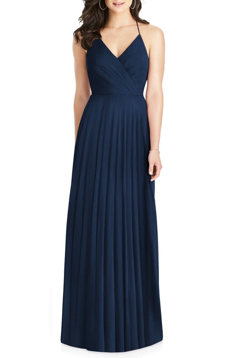 DESSY COLLECTION Ruffle Back Chiffon Gown, Main, color, 405