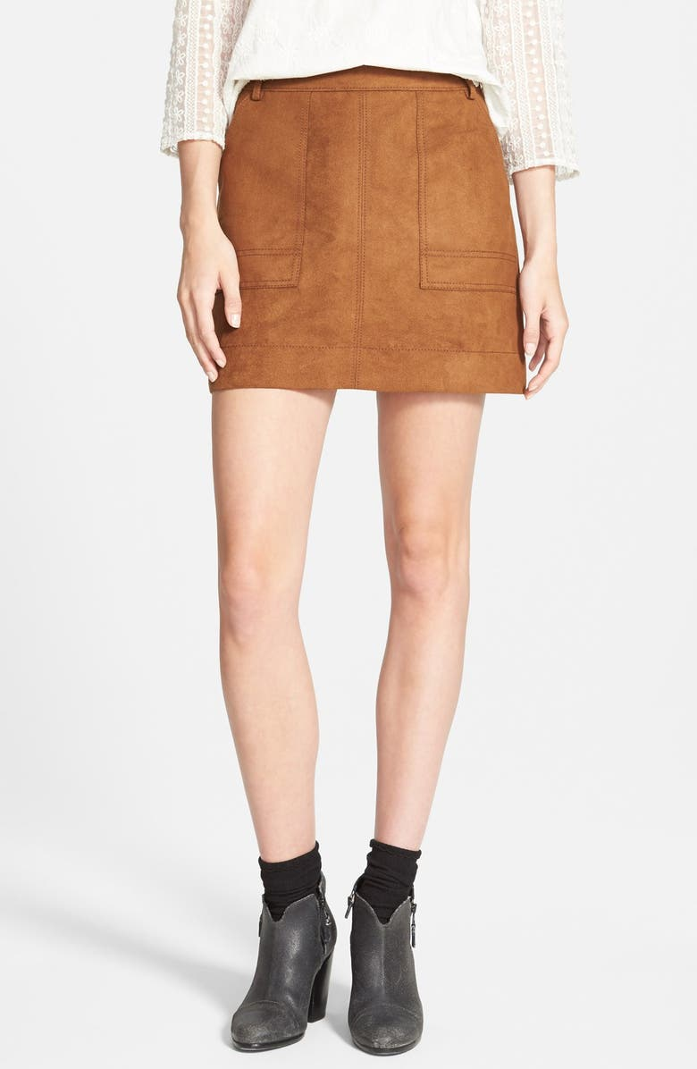 HINGE Faux Suede A-Line Miniskirt, Main, color, BROWN TOFFEE