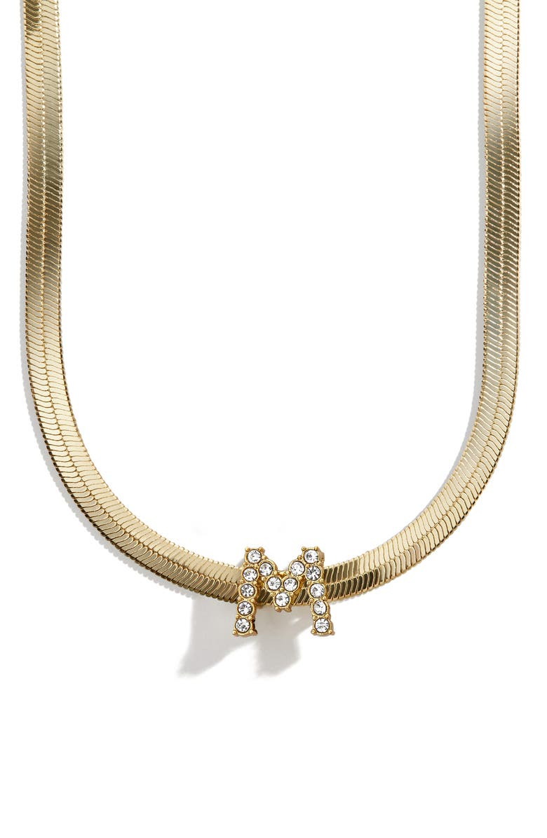 BAUBLEBAR Initial Charm Snake Chain Necklace, Main, color, GOLD-M