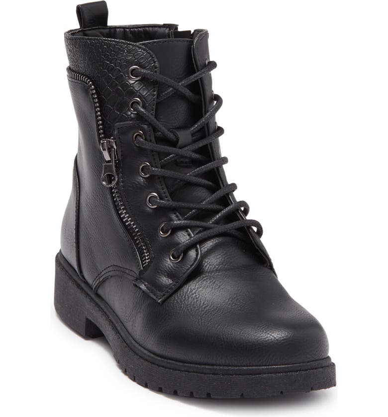 WANTED FOOTWEAR Mission Lace-Up Combat Boot, Main, color, BLACK