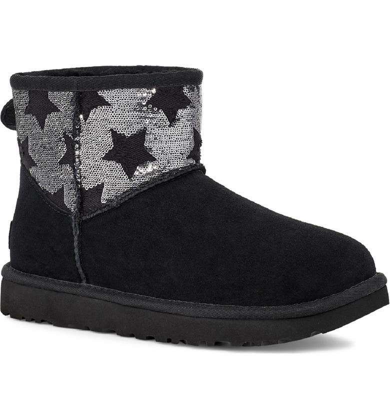 UGG<SUP>®</SUP> Classic Mini Sequin Stars Boot, Main, color, 001