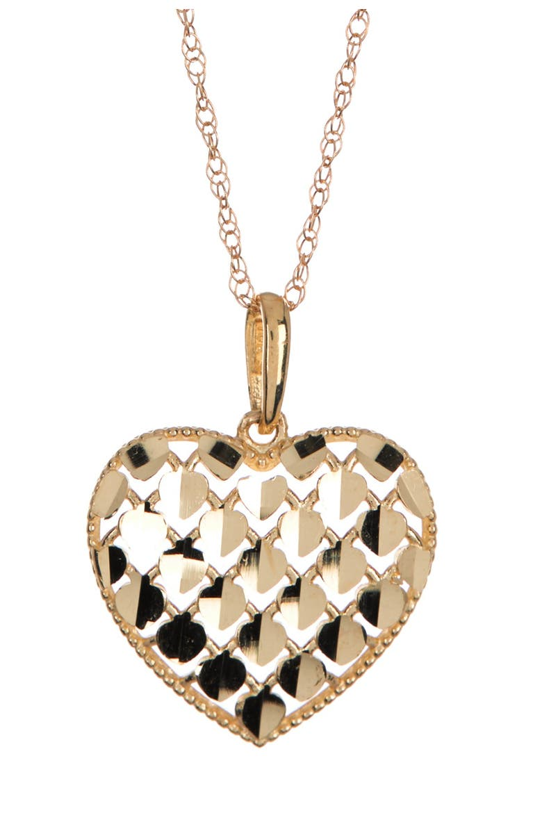 CANDELA JEWELRY 10K Gold Sequin Heart Pendant Necklace, Main, color, GOLD
