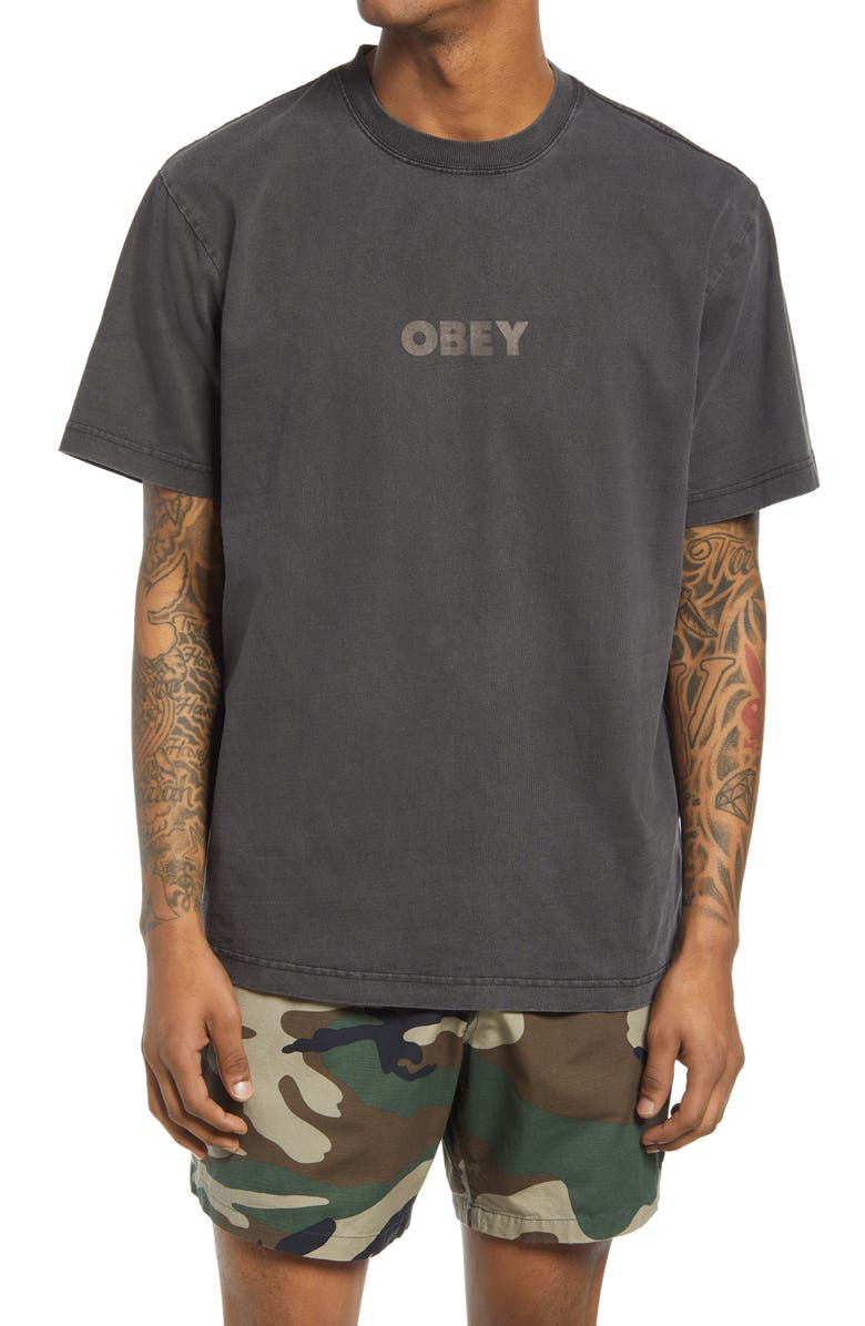 OBEY Bold Ideals Logo Organic Cotton T-Shirt, Main, color, BLACK