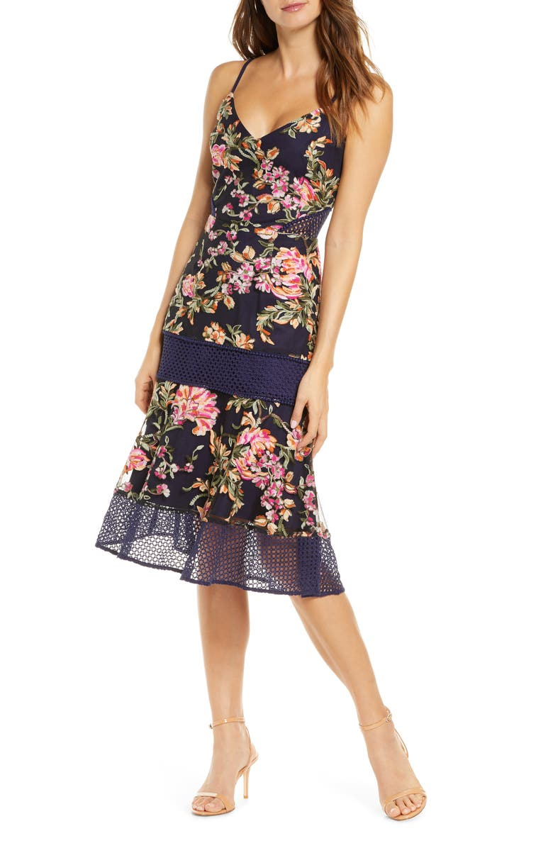 ADELYN RAE Kaylea Sleeveless Embroidered Lace Trim Dress, Main, color, NAVY MULTI