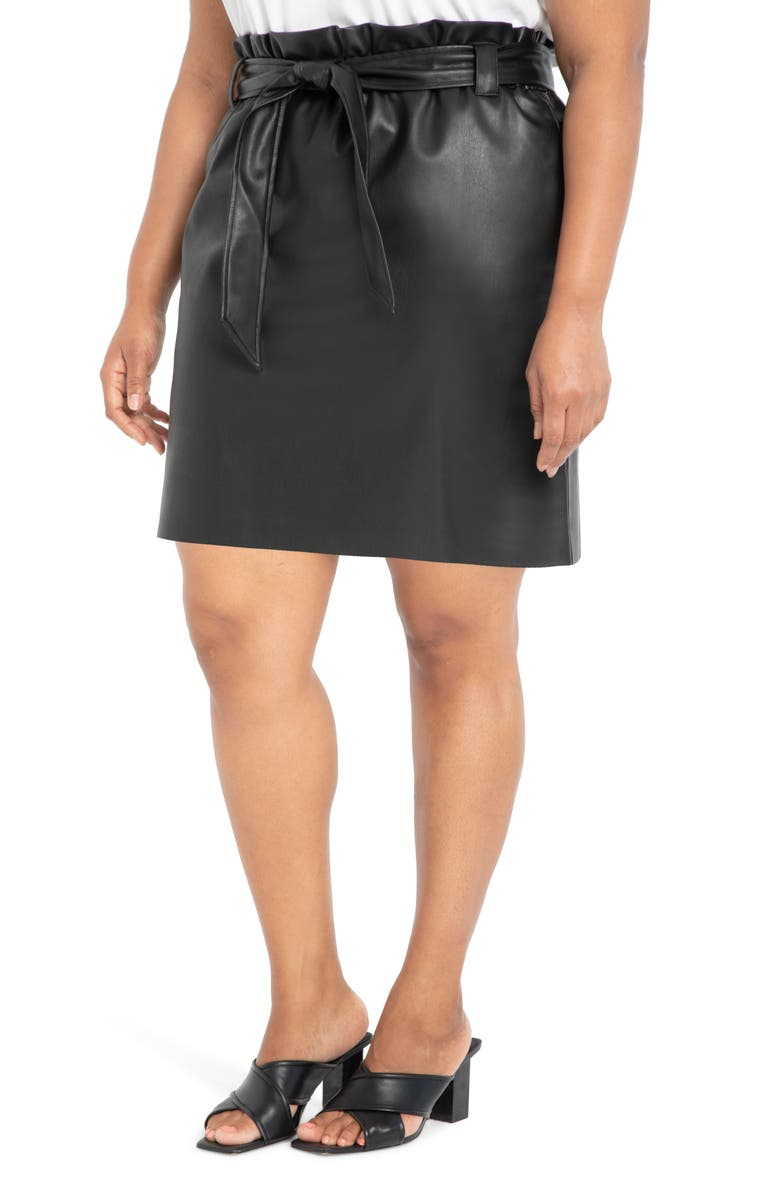 ELOQUII Belted Faux Leather Miniskirt, Main, color, 001