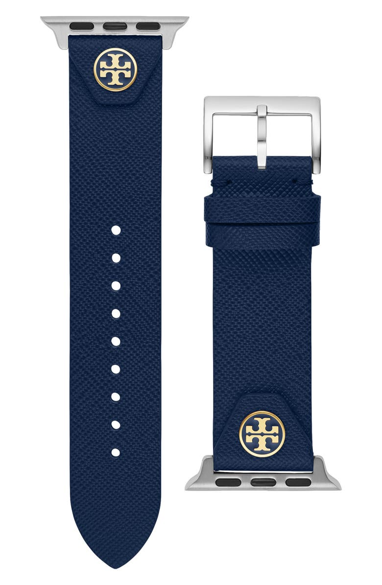 TORY BURCH The Studs Leather Apple Watch<sup>®</sup> Strap, Main, color, NAVY